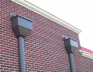 COMMERCIAL GUTTERS AND DOWNSPOUTS  Using the same seamless technology we use for our commercial gutter manufacturing  it in 6 inch . Commercial through the wall  scpper and water heads. WE WILL CUSTOM FIT AND FABRICATE FOR ANY COMMERCIAL PROPERTY  COMMERCIAL GUTTERS