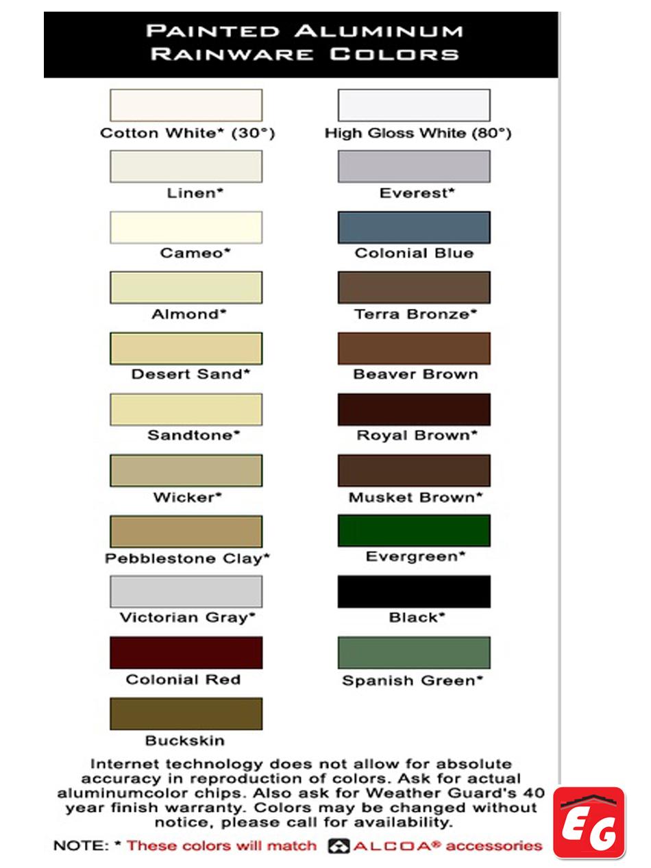 Color Chart Rain Gutter Roofing Siding Gutter Denver Co